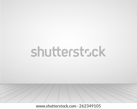 Illustration of a gray room with wooden floor. - stock vector