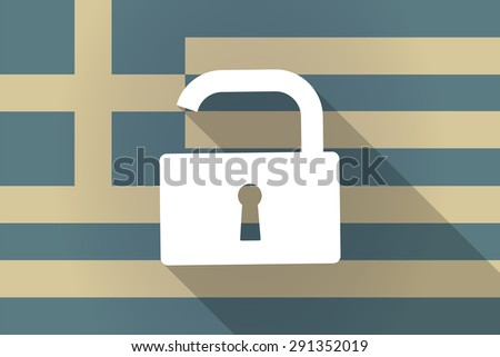 Illustration of a Greece  long shadow flag with a lock pad