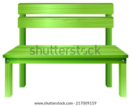 Illustration of a green bench on a white background - stock vector