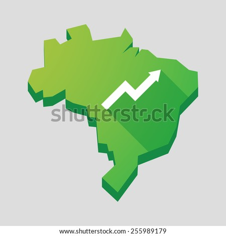 Illustration of a green  Brazil map with a graph - stock vector
