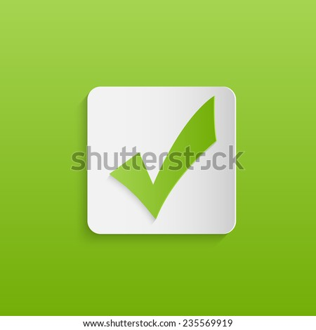 Illustration of a green check mark design against a colorful green background. - stock vector
