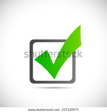 Illustration of a green checkmark illustration isolated on a white background. - stock vector
