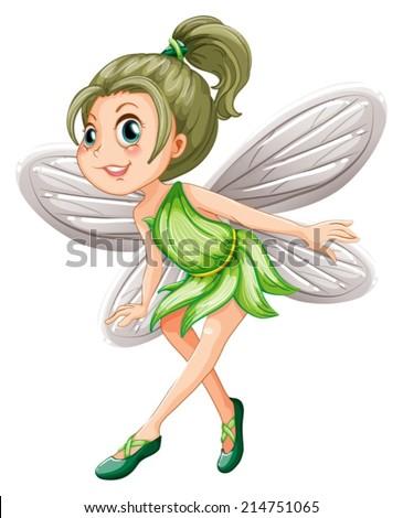Illustration of a green fairy - stock vector