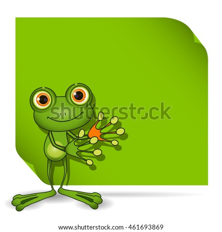 Illustration of a green frog and a green background