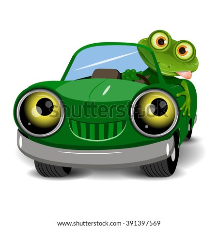 Illustration of a green frog in the car - stock vector