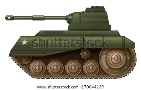 Illustration of a green military tank on a white background - stock vector