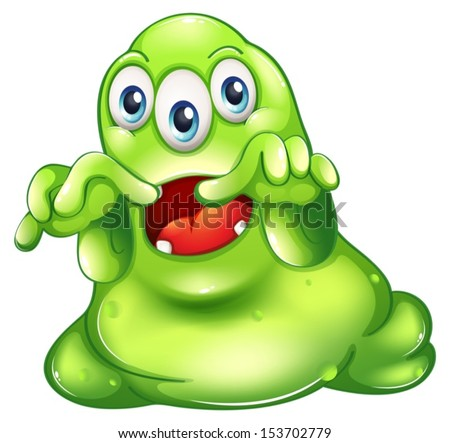 Illustration of a green monster in horror on a white background - stock vector