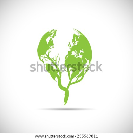 Illustration of a green planet design isolated on a white background. - stock vector