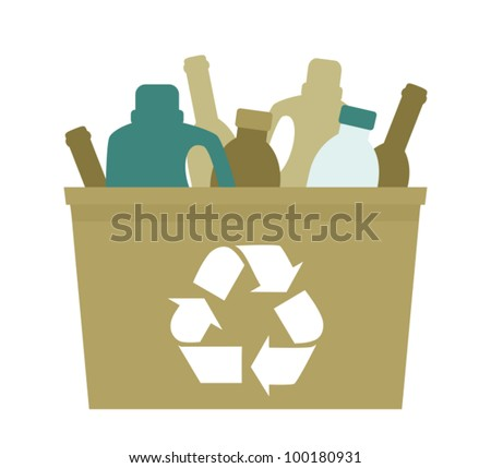Illustration of a green plastic bin with empty bottles in it. - stock vector