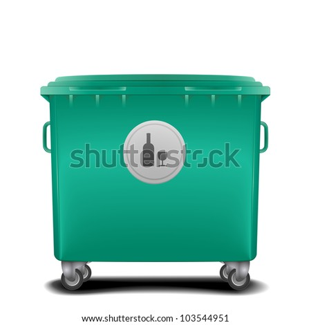 illustration of a green recycling bin with glass symbol - stock vector