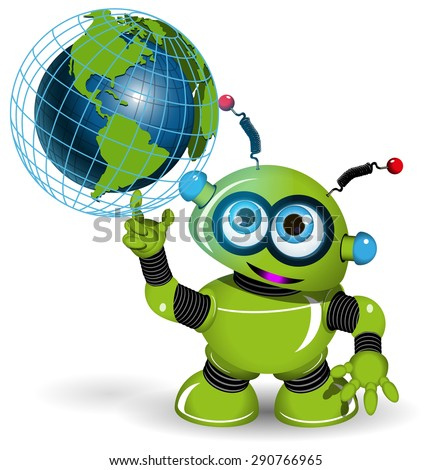 Illustration of a green robot and globe