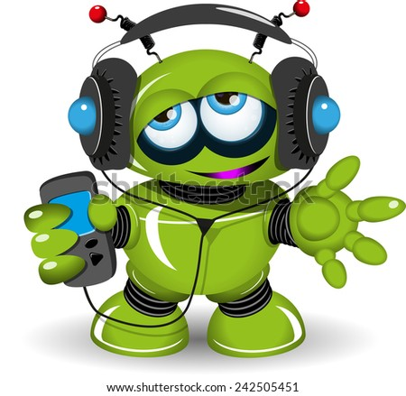 Illustration of a green robot listen to anything - stock vector
