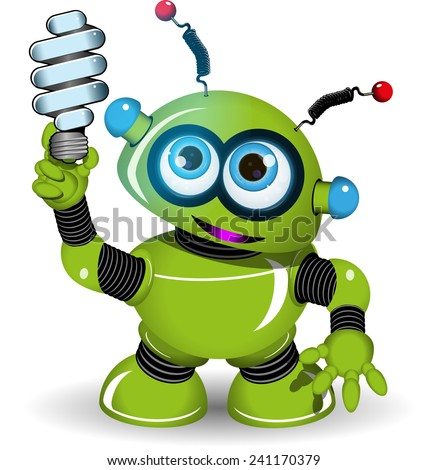 Illustration of a green robot with antennae and lamp - stock vector