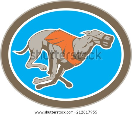 Illustration of a greyhound dog racing viewed from the side set inside circle on isolated background done in retro style. - stock vector
