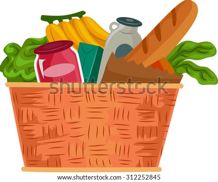 Illustration of a Grocery Basket Filled with Food Supplies - stock vector