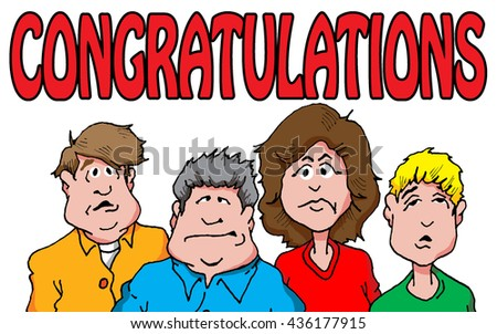 Illustration of a group grumpy bored looking people wishing congratulations