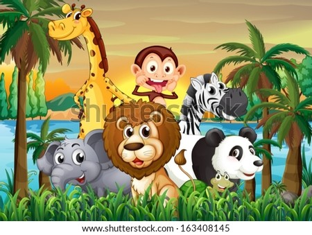 Illustration of a group of animals at the riverbank with coconut trees - stock vector