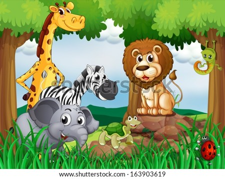 Illustration of a group of animals in the middle of the forest - stock vector