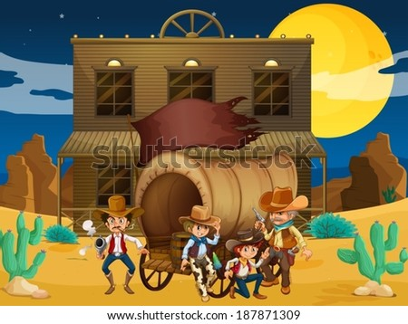 Illustration of a group of armed men with a wagon near the salon bar - stock vector