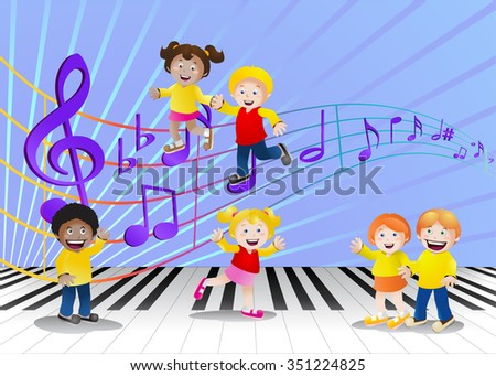 illustration of a group of children in front of bright music notes background - stock vector