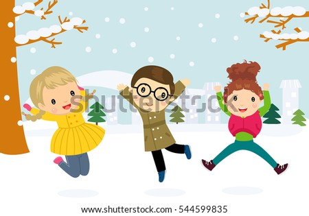 illustration of a group of children jumping and playing in the snow in the winter