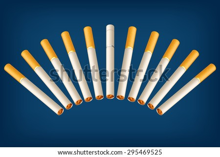 illustration of a group of cigarettes with different filter on blue background - stock vector