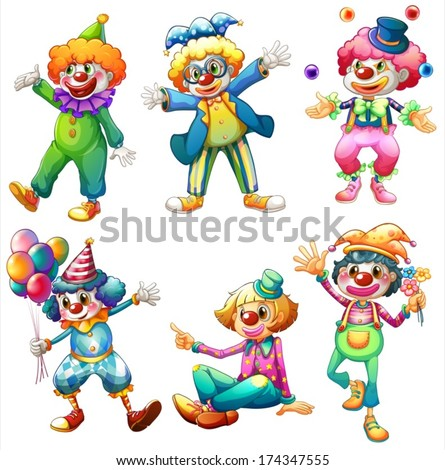 Illustration of a group of clowns on a white background - stock vector