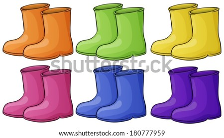 Illustration of a group of colorful boots on a white background - stock vector