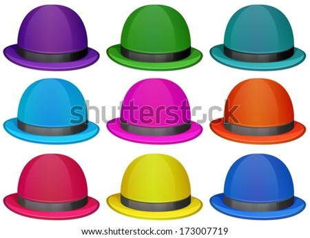 Illustration of a group of colorful hats on a white background