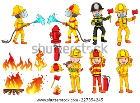 Illustration of a group of firemen on a white background  - stock vector