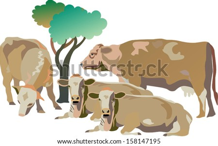 Illustration of a group of four cows, relaxing outdoors near a tree