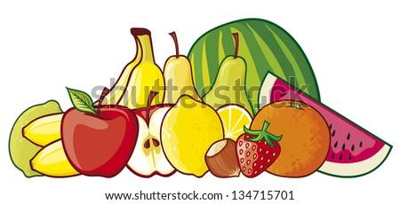illustration of a group of fruits (red apple, strawberry, pear, lemon, green lemon, orange, watermelon, banana, hazelnut) - stock vector