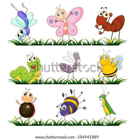 Illustration of a group of insects - stock vector