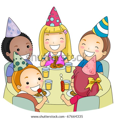 Illustration of a Group of Kids Eating at a Party - stock vector