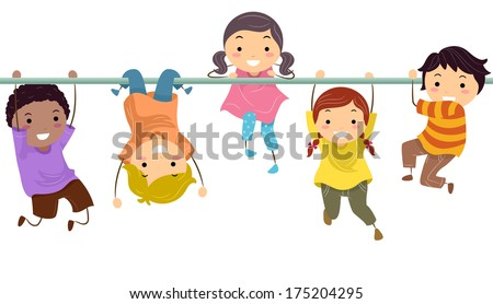 Illustration of a Group of Kids Playing with the Monkey Bar