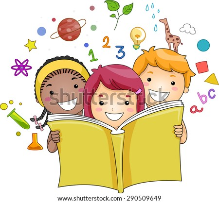 Illustration of a Group of Kids Reading a Book While Education Related Icons Hover in the Background - stock vector