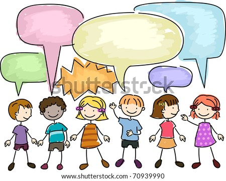 Illustration of a Group of Kids Talking - stock vector