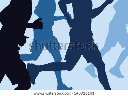 illustration of a group of men Running in a cross country run - stock vector