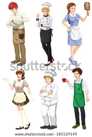 Illustration of a group of people engaging in different professions on a white background - stock vector