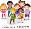 Illustration of a Group of School Children - stock vector