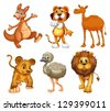 Illustration of a group of wild animals on a white background - stock photo