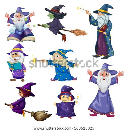 Illustration of a group of wizards on a white background - stock vector
