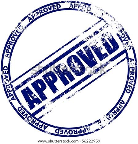 Illustration of a grunge rubber ink stamp: approved; dark blue stamp on white background - stock vector