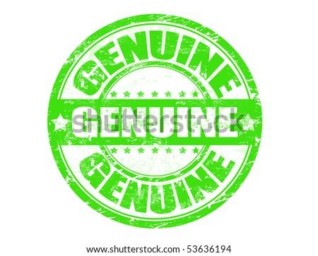 Illustration of a grunge rubber ink stamp GENUINE - stock vector