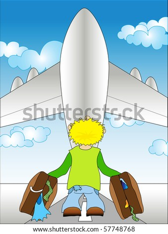 Illustration of a guy standing on airfield - going to travel - stock vector