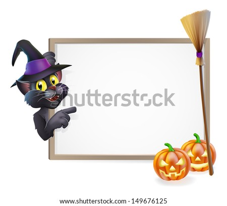 Illustration of a Halloween black witch's cat sign background - stock vector