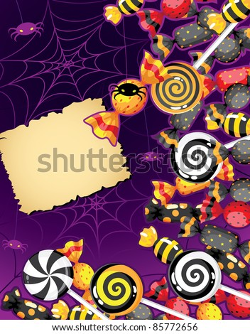illustration of a Halloween candy card - stock vector