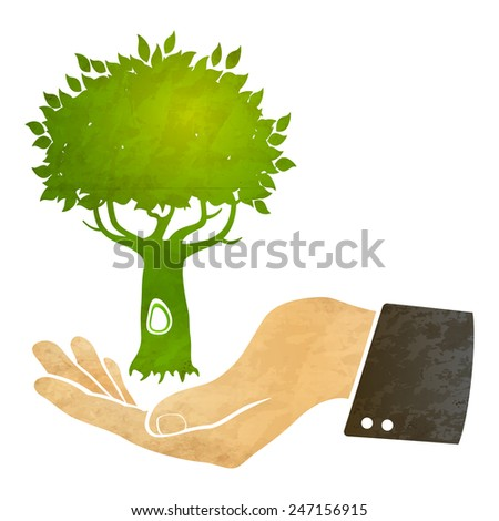 Illustration of a hand and tree - stock vector
