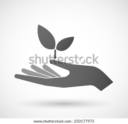 Illustration of a hand giving a plant