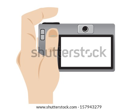 Illustration of a hand holding a camera, vector style in white background. - stock vector
